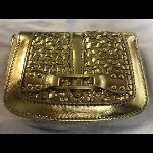 Jimmy Choo gold wallet never used with dust bag